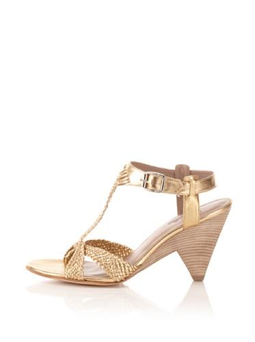 Belle by Sigerson Morrison Women's Woven T-Strap Sandal (Gold)
