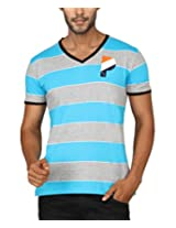 Paani Puri Men's V-Neck T-Shirt (MVNSSP05_L Blue_X-Large)
