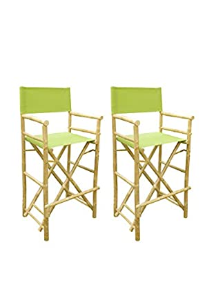 ZEW, Inc. Set of 2 Bamboo High Director Chairs, Green