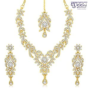Necklace sets - Sukkhi Trendy Gold Plated Australian Diamond Stone Studded Necklace Set(2038NADK1050)