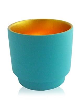 Luminata Studios Ceramic Votive Holder, Blue/Gold