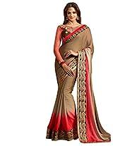 Inddus Women Brown & Red Bridal Saree
