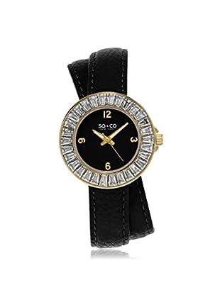 SO & CO Women's 5070.1 SoHo Black Leather Watch