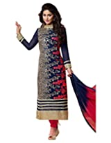 Surat Tex Nevy Blue Color Embroidered Georgette Semi-Stitched anarkali