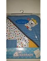 Bon Bebe 4 Piece Bath Set Towel And 3 Wash Cloths Blue