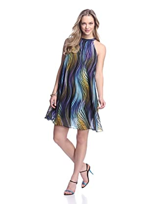 Muse Women's Swirl Stripe Swing Dress (Blue/Multi)