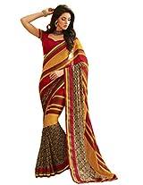 Pagli georgette printed saree with silk striped border