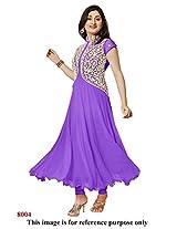 Rajnandini Women and Girls semi-stitched georgette purple anarkali suit - dress material