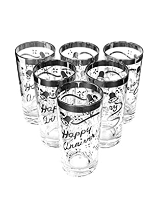 1960s Set of 6 Silver Happy Anniversary Glasses, Clear/Silver