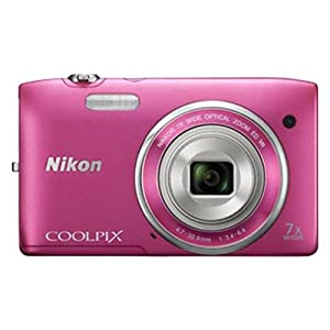 Nikon Coolpix S3500 20.1MP Point-and-Shoot Digital Camera (Pink) with 4GB Card, Camera pouch