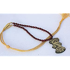 Petals of Earth Terracotta Black and gold pendant with wooden beads Necklace