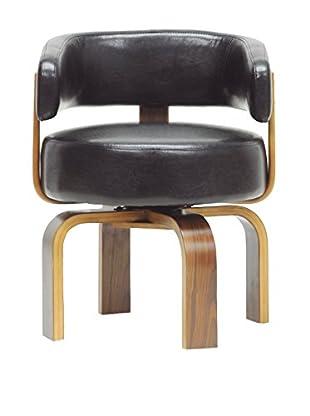 Baxton Studio Fortson Accent Chair, Walnut/Black