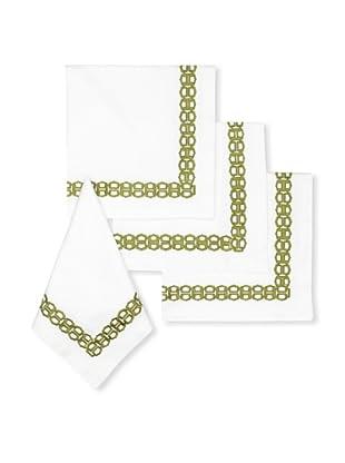 Trina Turk Set of 4 Ogee Embroidered Napkins (Green)