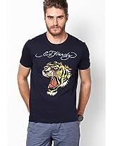 Navy Blue Round Neck T-Shirts