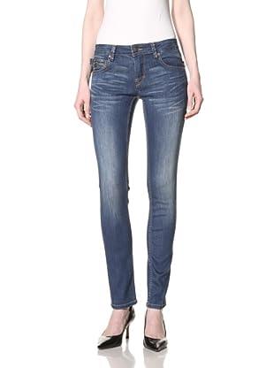 Jimmy Taverniti Women's Skinny Angle Jean (Mid Stonewash)