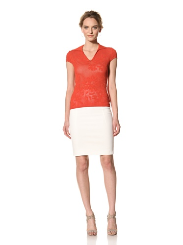 Les Copains Women's White Label Floral Perforated Top (Red)