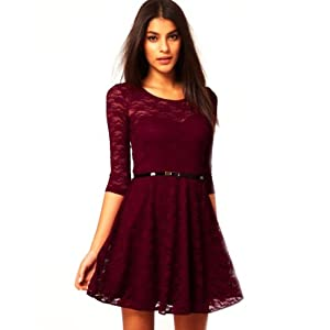 Bamboo Fibre Red Lace Dress