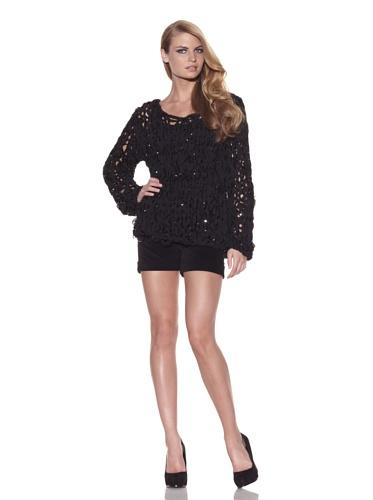 Foley + Corinna Women's Norma Crochet Chiffon Sweater (Black)