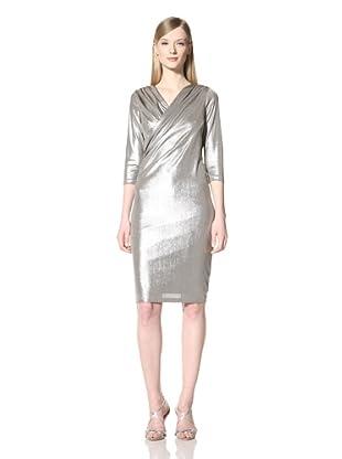 Pink Tartan Women's Drape Twist Dress (Platinum)