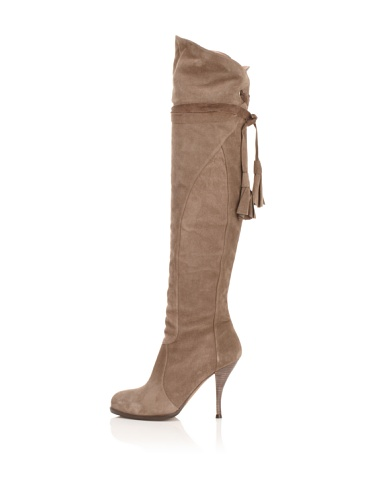 Pura Lopez Women's Suede Over-The-Knee Boot (Taupe)