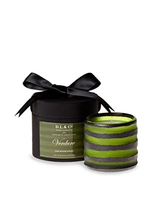 D.L. & Co. Rayure Collection Hand-Blown Thick-Stripe Candle, Verdure, 10-Oz.