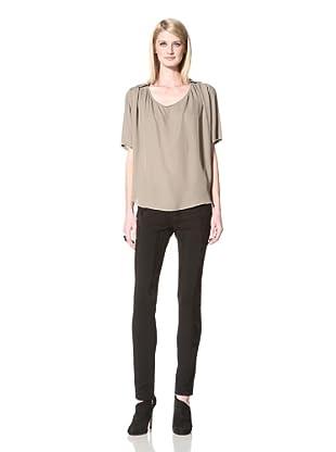 Halston Heritage Women's Short Sleeve Blouse (Taupe)
