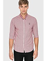 Checked Red Casual Shirt Mufti