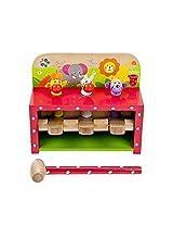 Wooden Safari Pop Up Peg Hammer Toy Pounding Bench Baby & Toddler Toy