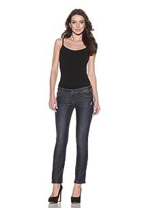 "DL 1961 Premium Denim Women's Kate Cropped Slim Straight 30"" Cuffed Jeans (Ripple)"