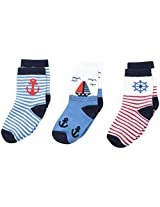 Country Kids Baby Boys' Ship's Ahoy Pick A Mix 3 Pairs, Navy, 5 6 Shoe Size 3 71/2 Months