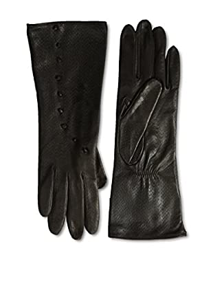 Portolano Women's Silk Lined Perforated Leather Gloves with Buttons (Teak)