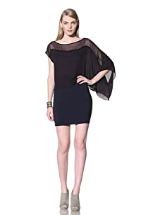 David Lerner Women's Draped Top with Sleeve (Ink)