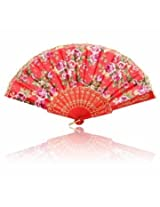 Retro Floral Print Folding Fans Hand Fan Dance Party Supplie (Red)