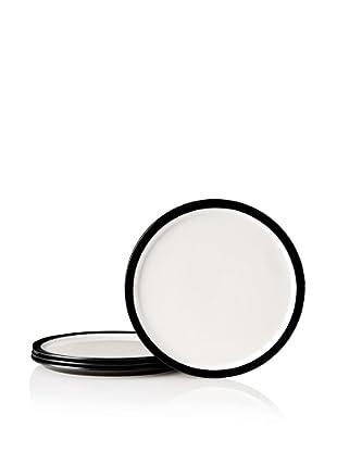 Kate Spade Saturday Set of 4 Flat Rim Plates, Black/White