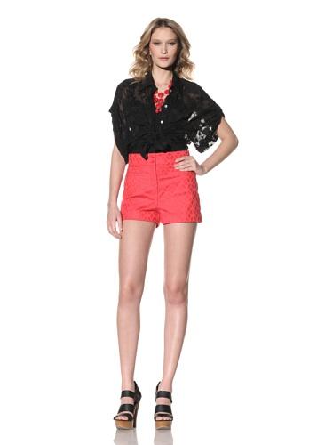 Anna Sui Women's Cotton Jacquard Shorts (Tomato)
