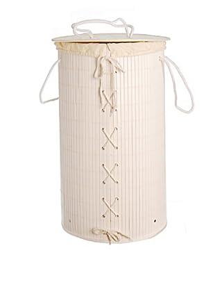 Cesto Portabiancheria Bambù Bianco 61X35 cm