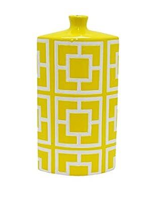 Three Hands Rectangular Geometric Ceramic Vase, Yellow/White