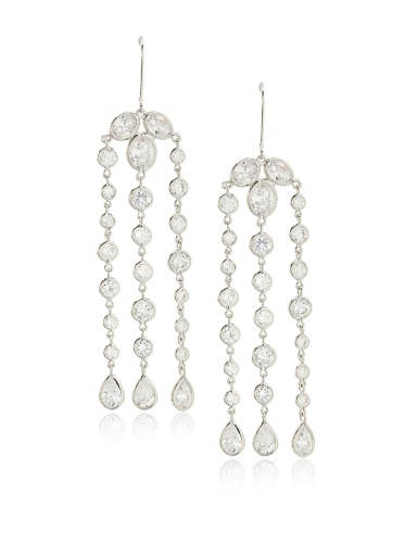 CZ by Kenneth Jay Lane Clear Triple Fringe Bezel Post Earrings