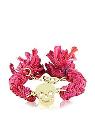 Ettika Red Vintage Ribbon Bracelet with 18K Gold-Plated Skull Charm