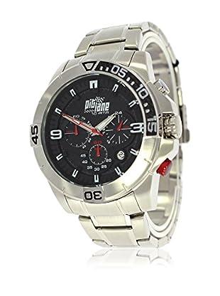 Pit Lane Uhr mit Miyota Uhrwerk Pl-1010-1 silberfarben 45 mm