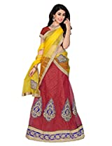 Jiya Presents Multi Embroidered And Embellished Net Semi-Stitched Lehenga Choli (Red)