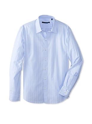 Zachary Prell Men's Solomon Striped Long Sleeve Shirt (Light Blue)