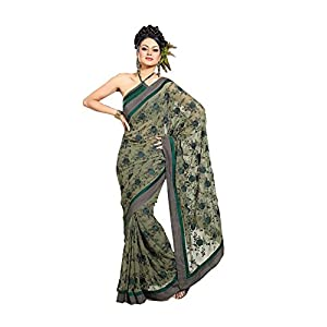 Luster 101cart Georgette Saree - Olive Green