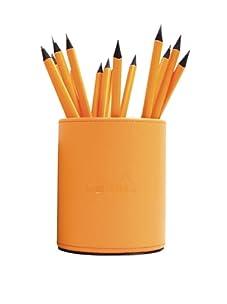 Rhodia Leatherette Pencil Cup and 5 Pencils (Orange)