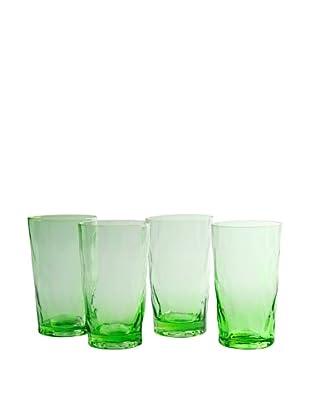 Artland Set of 4 Ripple Green 20-Oz. Highball Glasses