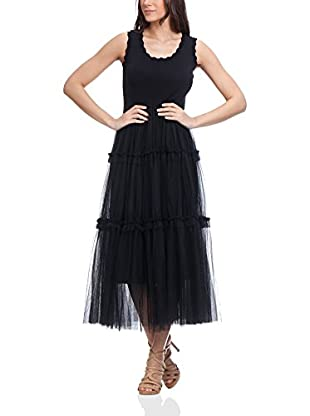 Tantra Maxikleid Long With Knitted Body And Net
