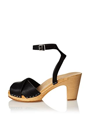 Swedish Hasbeens Women's Strappy Sandal (Black/nature)