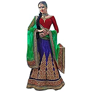 Styles Closet Net Lehenga Choli - Blue & Green & Red