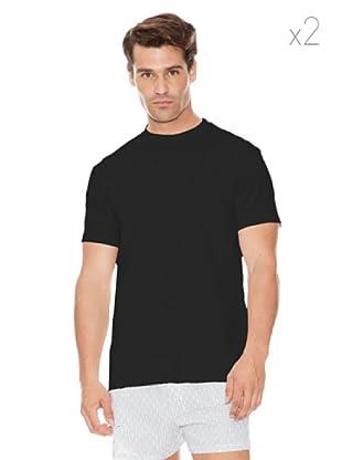 DIM Camiseta Pack 2 Cuello Redondo (Negro/Gris)