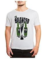 Bushirt Men's Round Neck Cotton T-Shirt (DN00129 - Balanced Diet_Cream_X-Large)